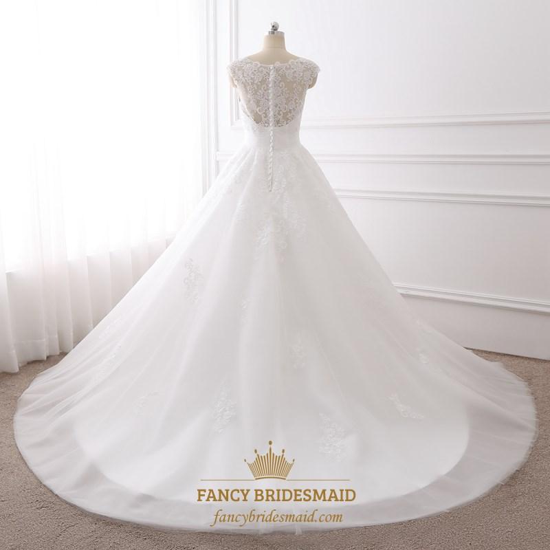 white cap sleeve sweetheart neckline wedding dress with