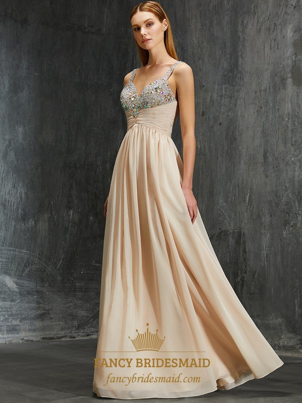 8f7cc74d68c0 Sleeveless Chiffon Ruched Empire Waist Evening Dress With Beaded Top SKU  -FS2572