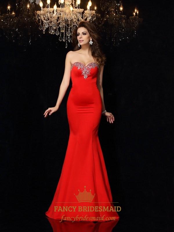 Elegant Red Strapless Mermaid Formal Dress With Embellished Neckline