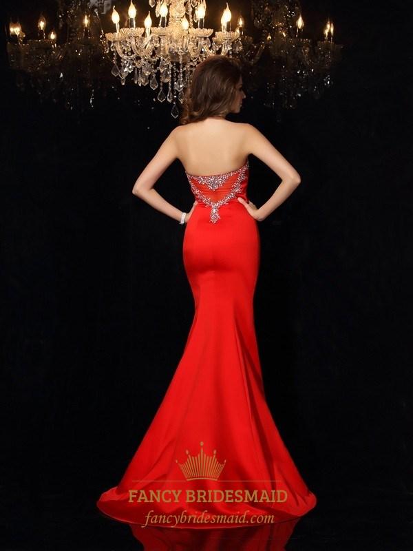 b091034e045f Elegant Red Strapless Mermaid Formal Dress With Embellished Neckline ...