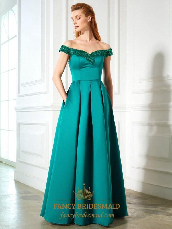 e220a70cbe5c Elegant Embellished Off The Shoulder A-Line Prom Dress With Pockets SKU  -FS2592