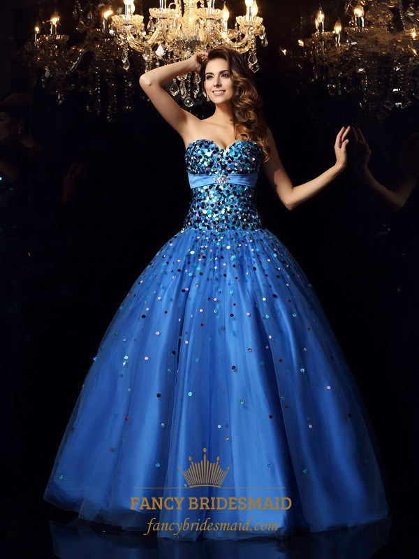 Royal Blue Strapless Beaded Embellished A-Line Ball Gown Prom Dress ...