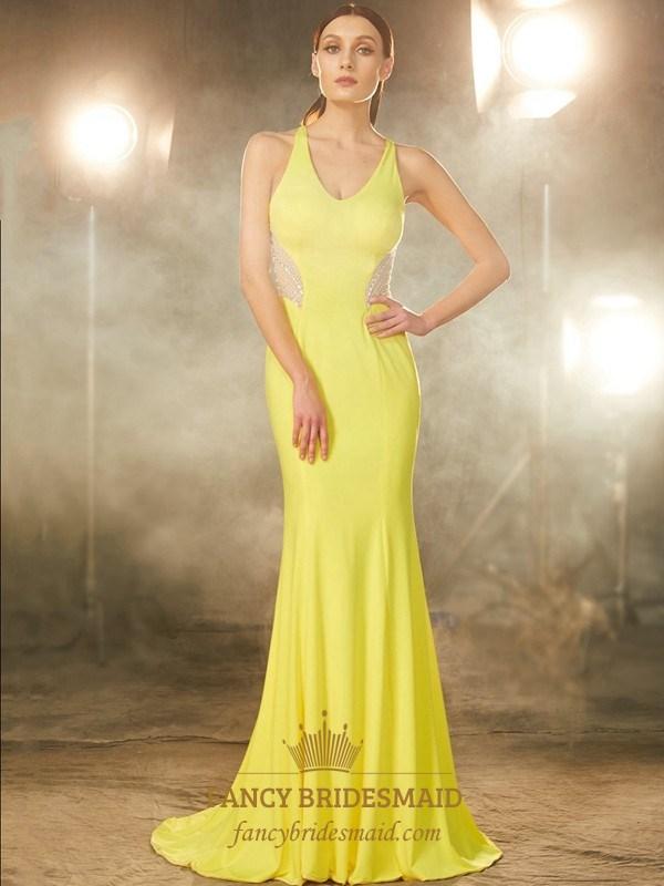 Yellow Sleeveless Mermaid Chiffon Prom Gown With Illusion Beaded ...
