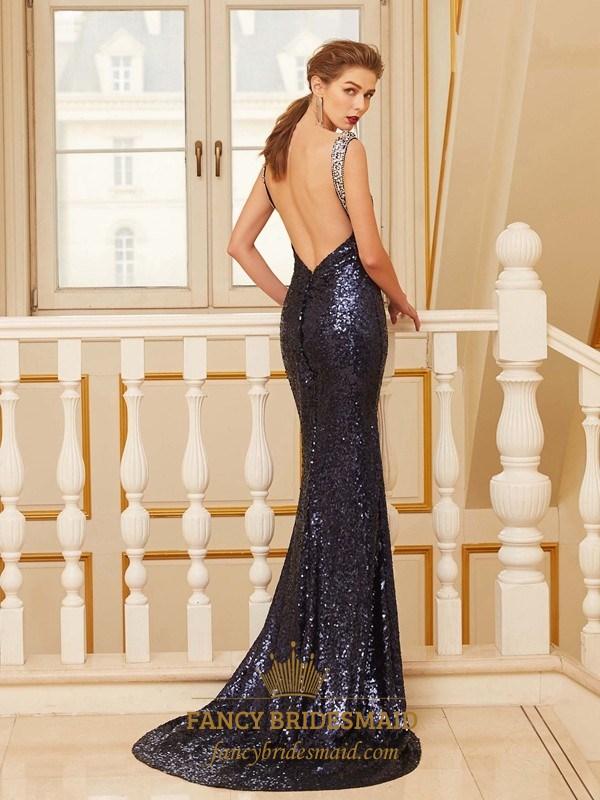 38508932ca09 Black Sequin Floor Length Sleeveless Mermaid Prom Dress With Open Back