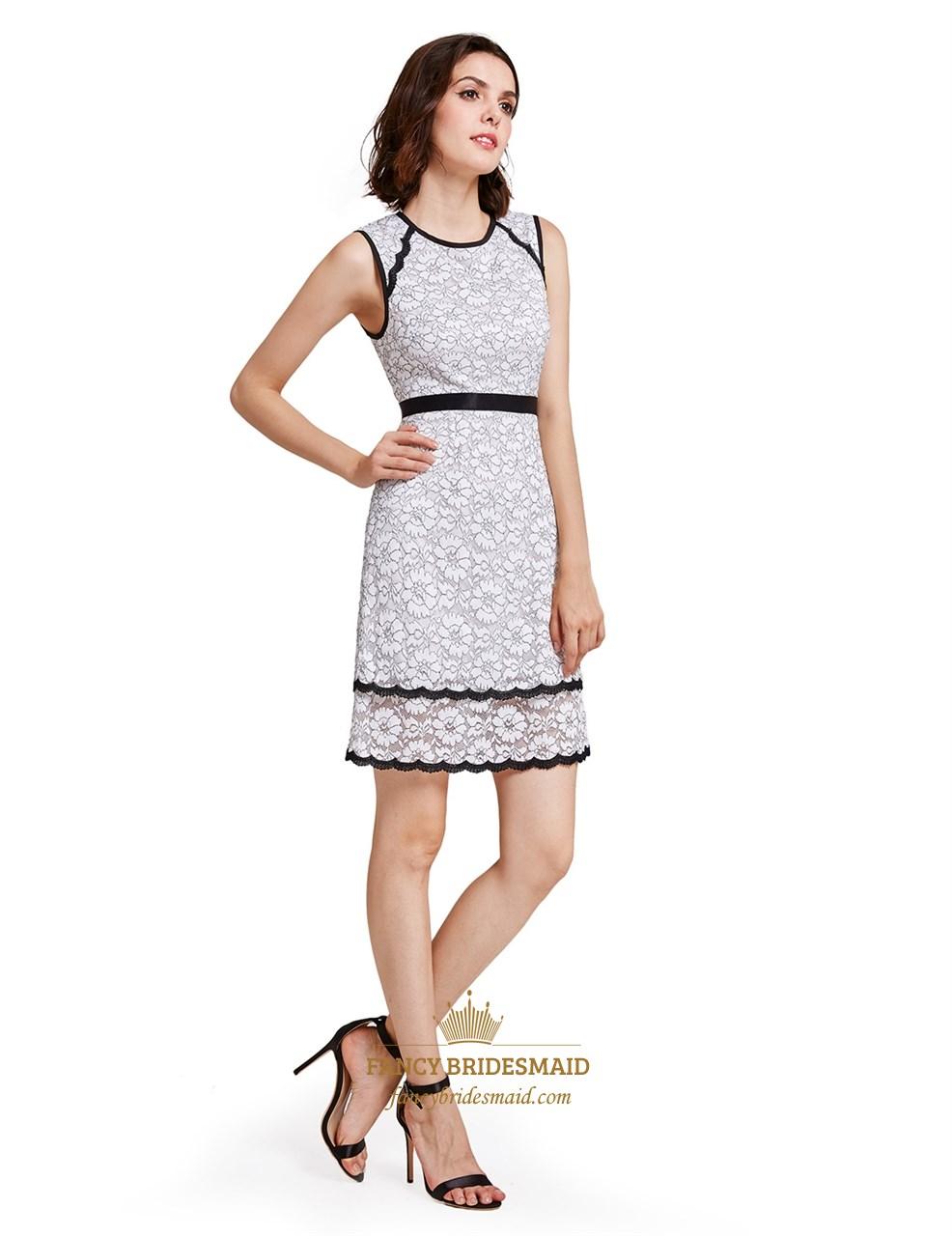 White Sleeveless Lace Sheath Dress
