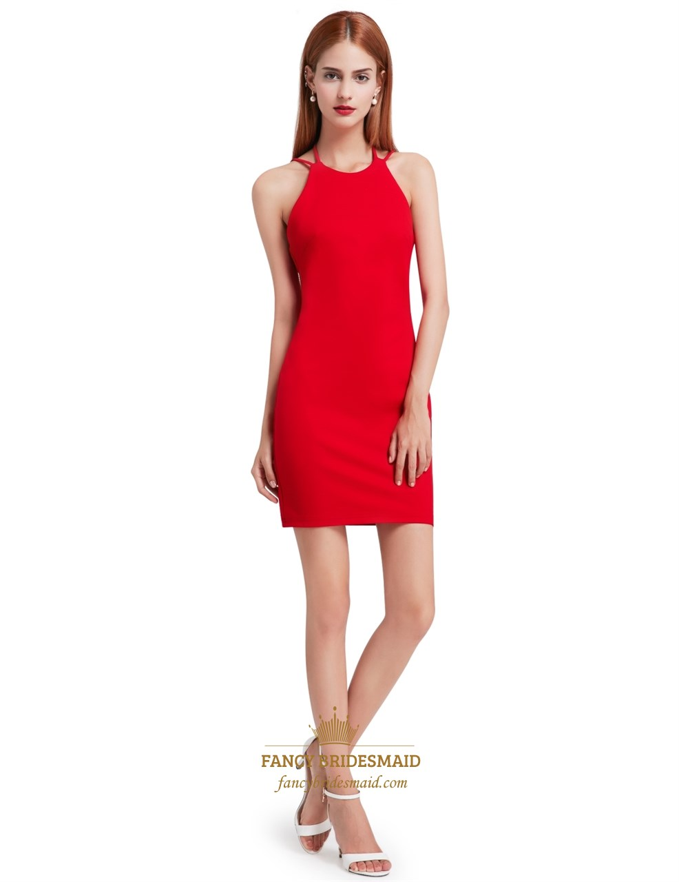 bde10d5dd6b80c Red Simple Sleeveless Short Sheath Cocktail Dress With Open Back SKU -FS2890