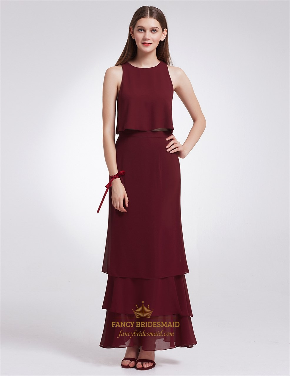Burgundy Simple Elegant Sleeveless Two Piece Chiffon Long Evening Dress