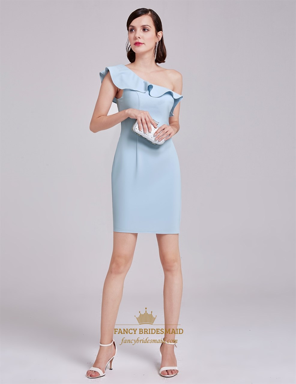 1e9d02115db Light Blue Simple One Shoulder Short Sheath Cocktail Dress With Ruffle