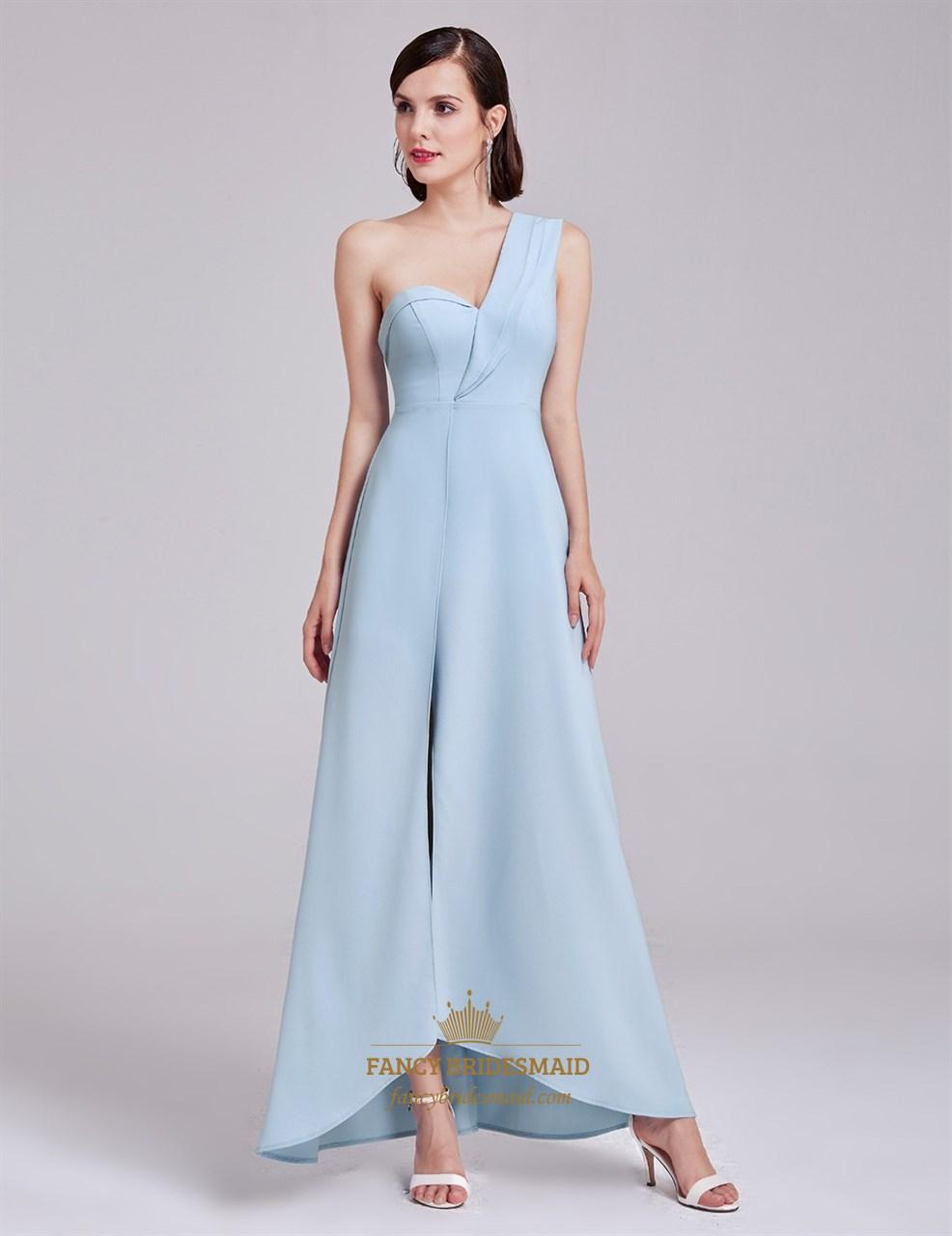 6ee6431281e Light Blue One Shoulder Sweetheart Neckline Asymmetrical Long Dress ...