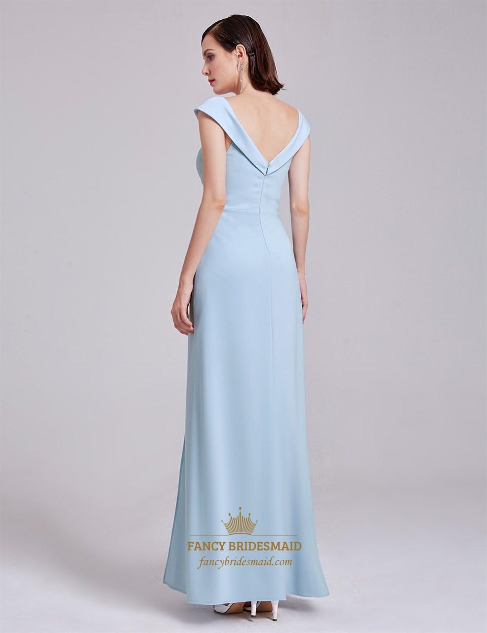 bcfd923a2dd Elegant Light Blue Cap Sleeve V Neck Long Evening Dress With V-Back ...