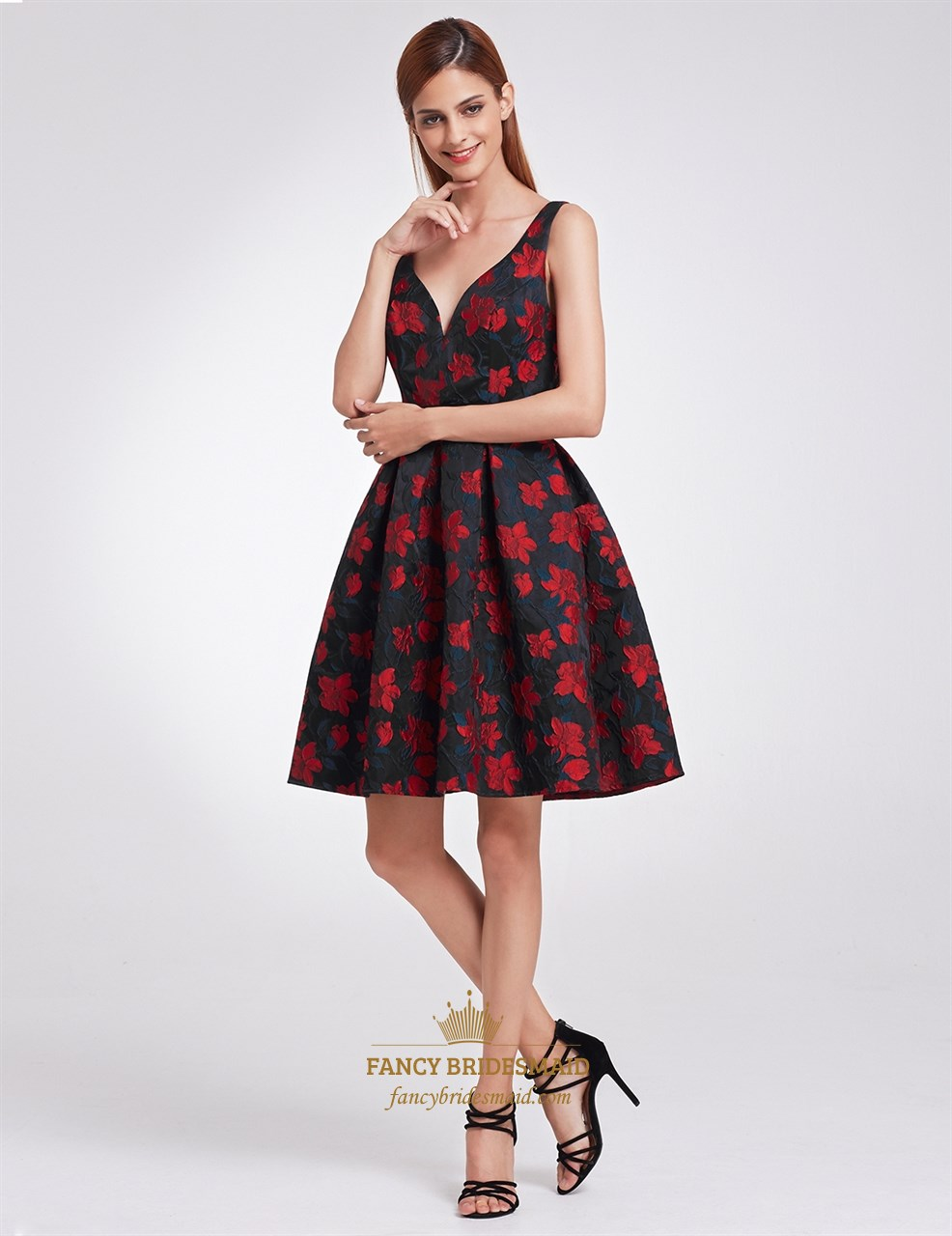 27f2a63a1573 Black And Red Sleeveless Floral Print V Neck A Line Knee Length Dress