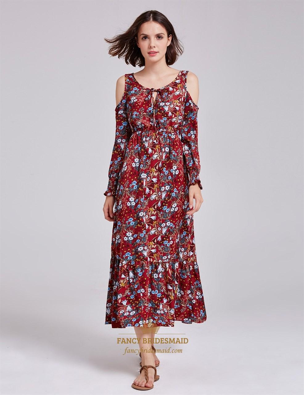 Tea Length Scoop Neckline A-Line Floral Print Dress With