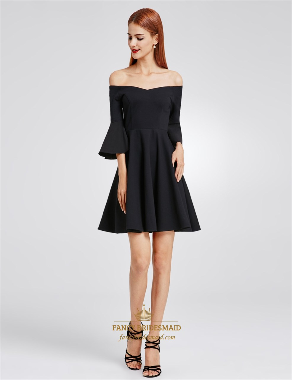 Black Off The Shoulder A Line Short Homecoming Dress With