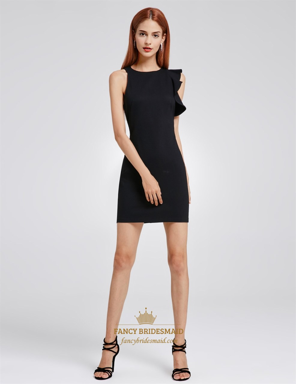Asymmetrical Sleeveless Black Short Sheath Closed Back Cocktail Dress | Fancy Bridesmaid Dresses