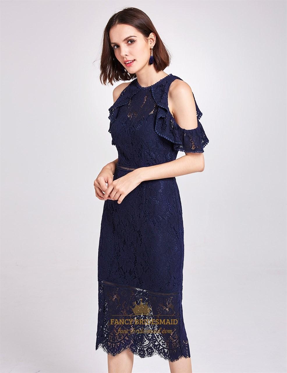 Navy Blue Sleeveless Tea Length Sheath Lace Cocktail Dress ...