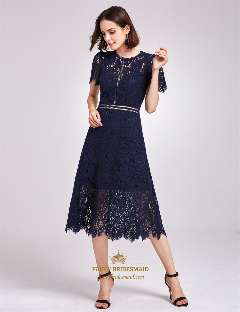 Elegant Navy Blue Short Sleeve A-Line Tea Length Lace Cocktail Dress ...
