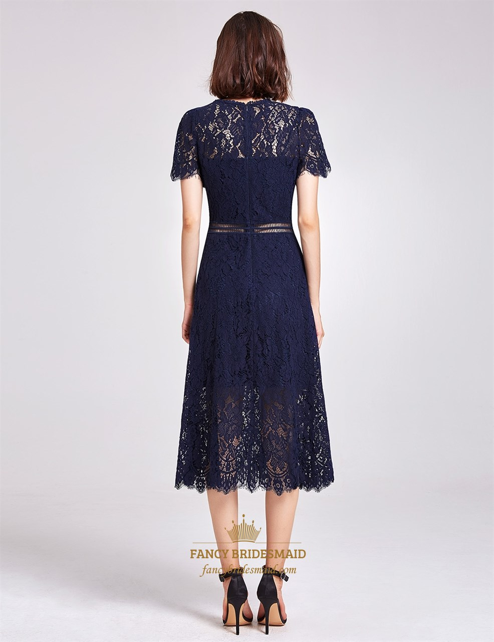 Elegant Navy Blue Short Sleeve A Line Tea Length Lace