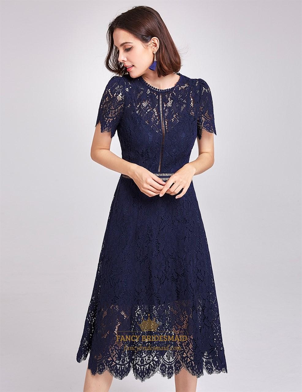 ddadd3ce279d Short Sleeve Navy Blue Cocktail Dress - raveitsafe