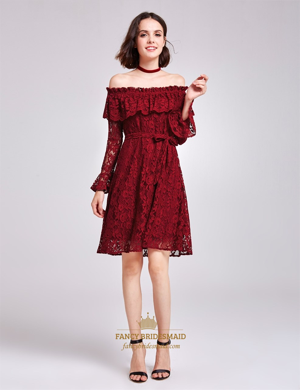 Burgundy Off The Shoulder Long Sleeve A-Line Short Lace Cocktail ...