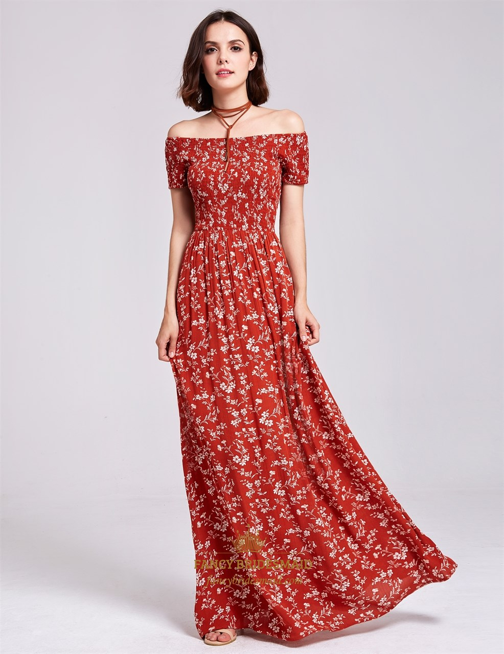 Off Shoulder A-Line Short Sleeve Floor Length Floral Print Maxi ...