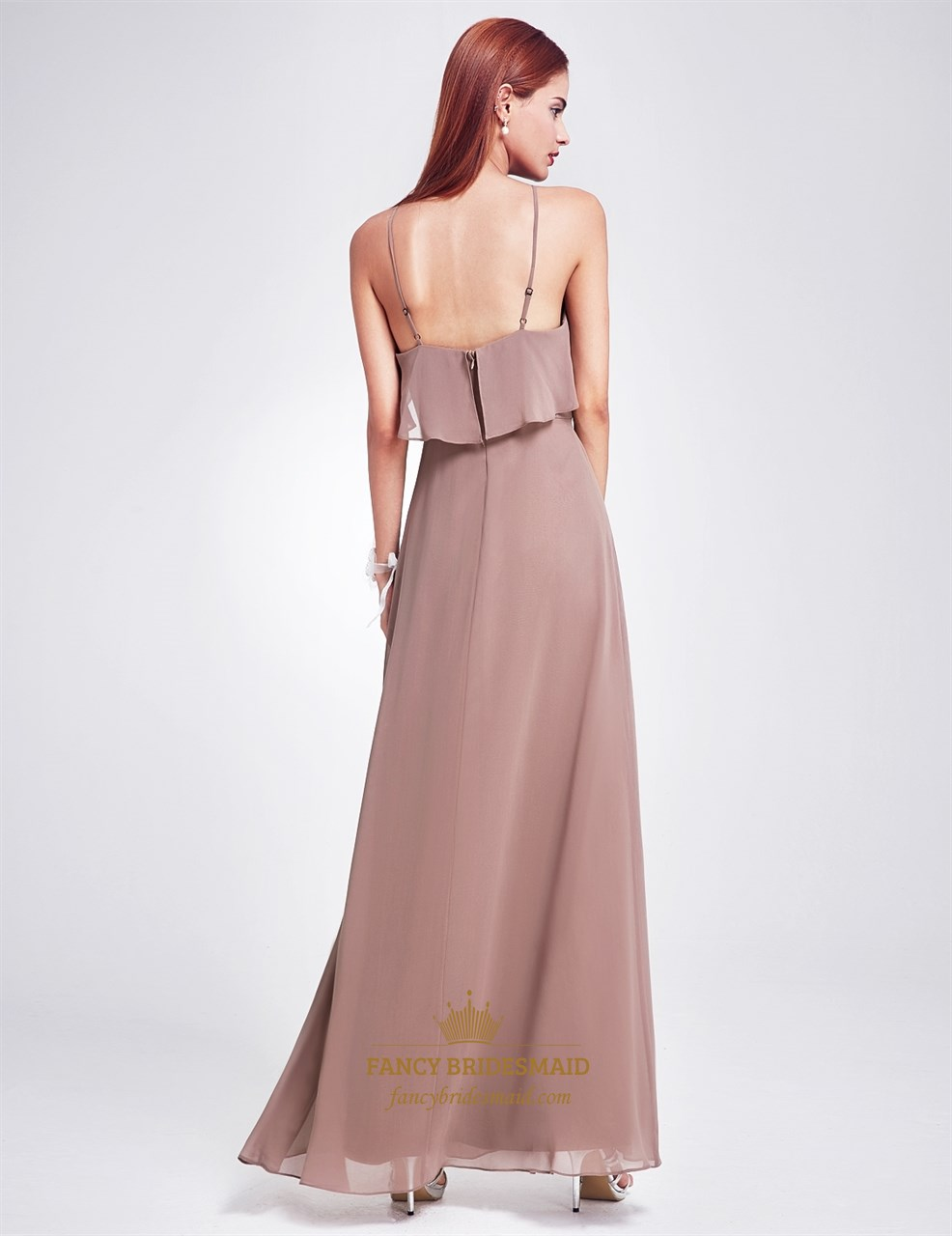 Spaghetti Strap A Line Floor Length Chiffon Prom Dress