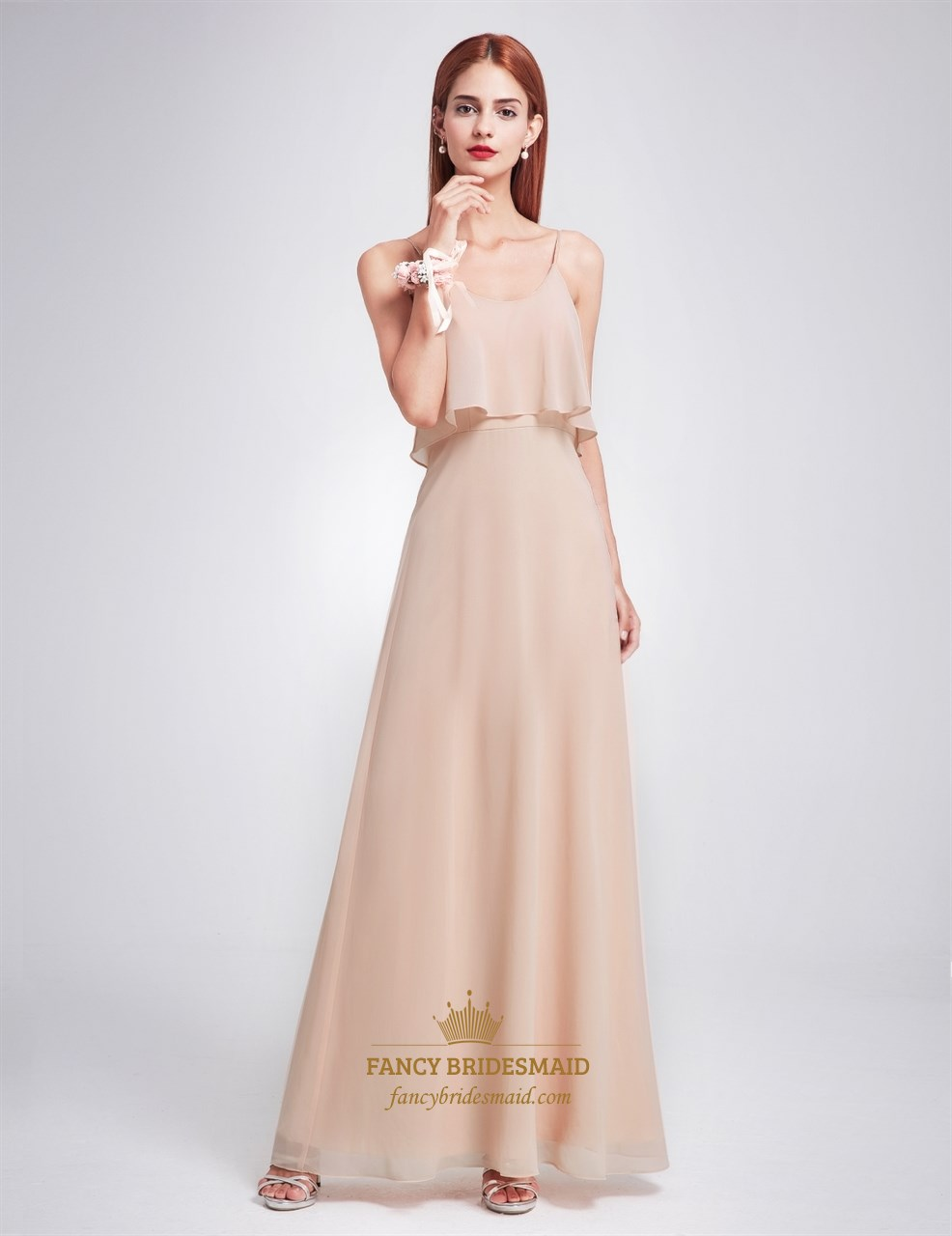 Simple Spaghetti Strap A Line Floor Length Chiffon