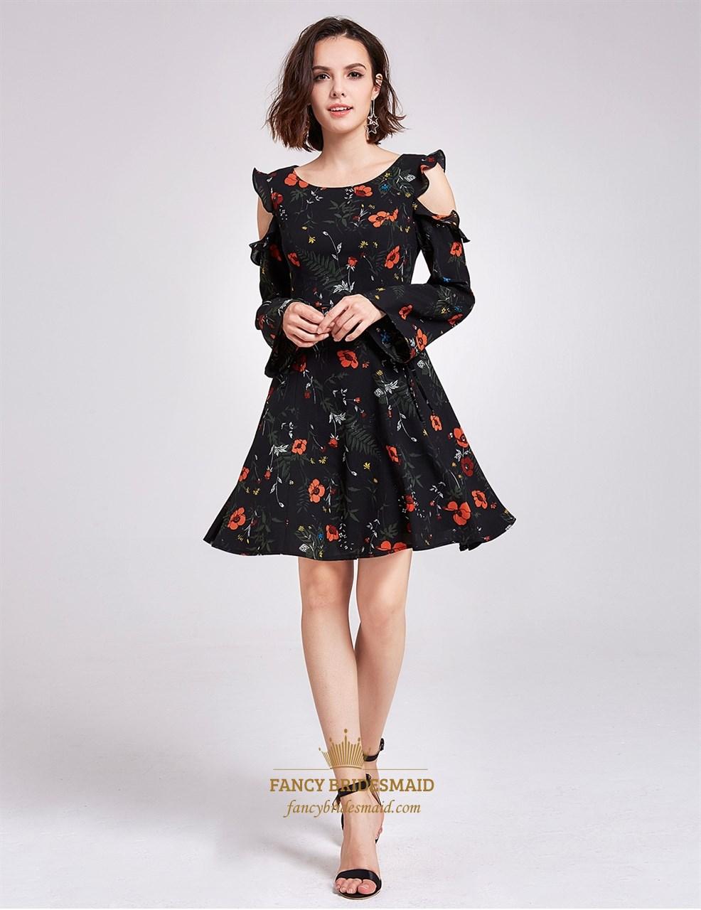 012cd50cbe Vintage Knee Length Black A-Line Floral Print Dress With Long Sleeves SKU  -FS2950