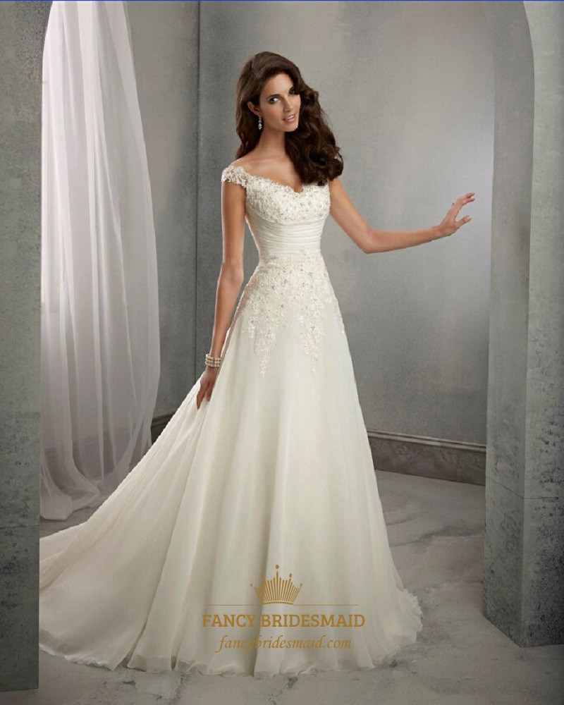 Elegant Cap Sleeve V Neck Ruched Waist A Line Wedding Dress With Train