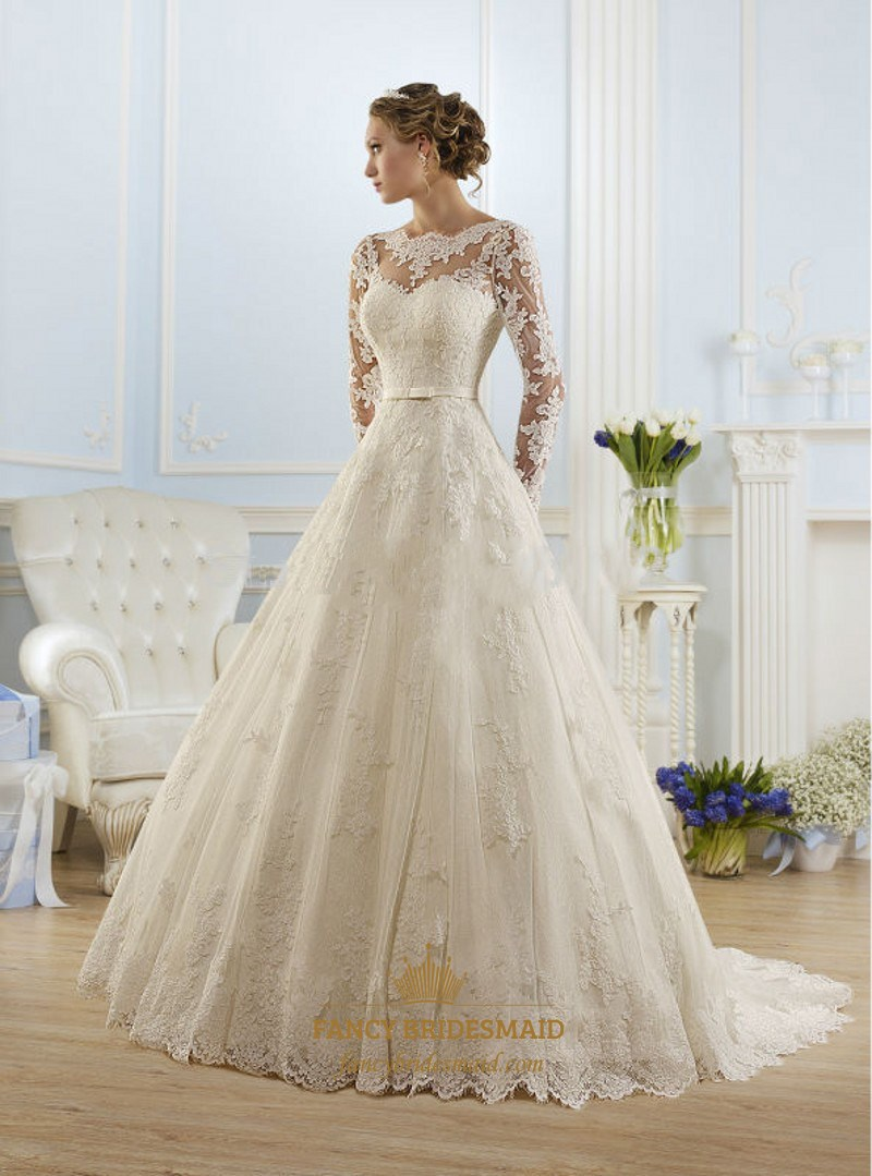 Illusion Long Sleeve Open Back Lace A Line Ball Gown Wedding Dress