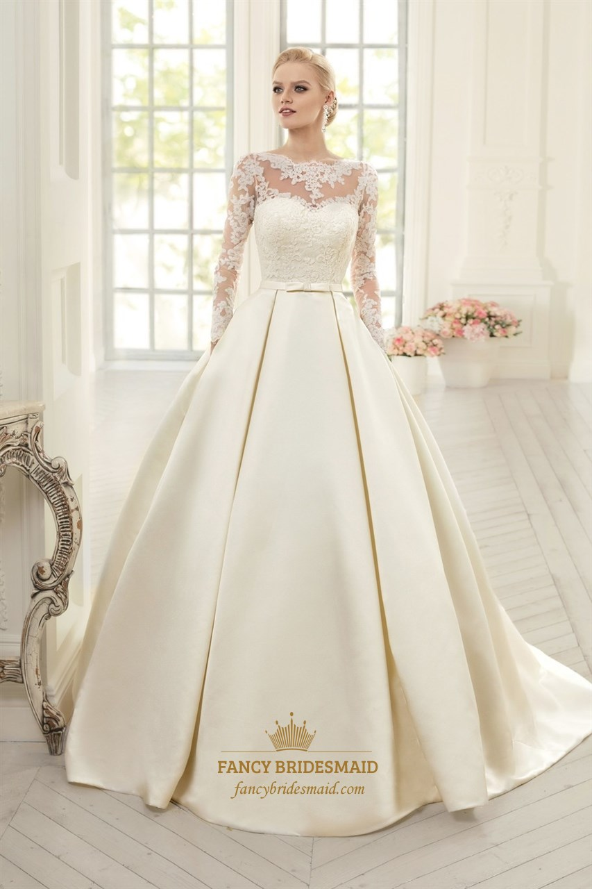 Long Sleeve Illusion Bodice A-Line Satin Wedding Dress With Open ...