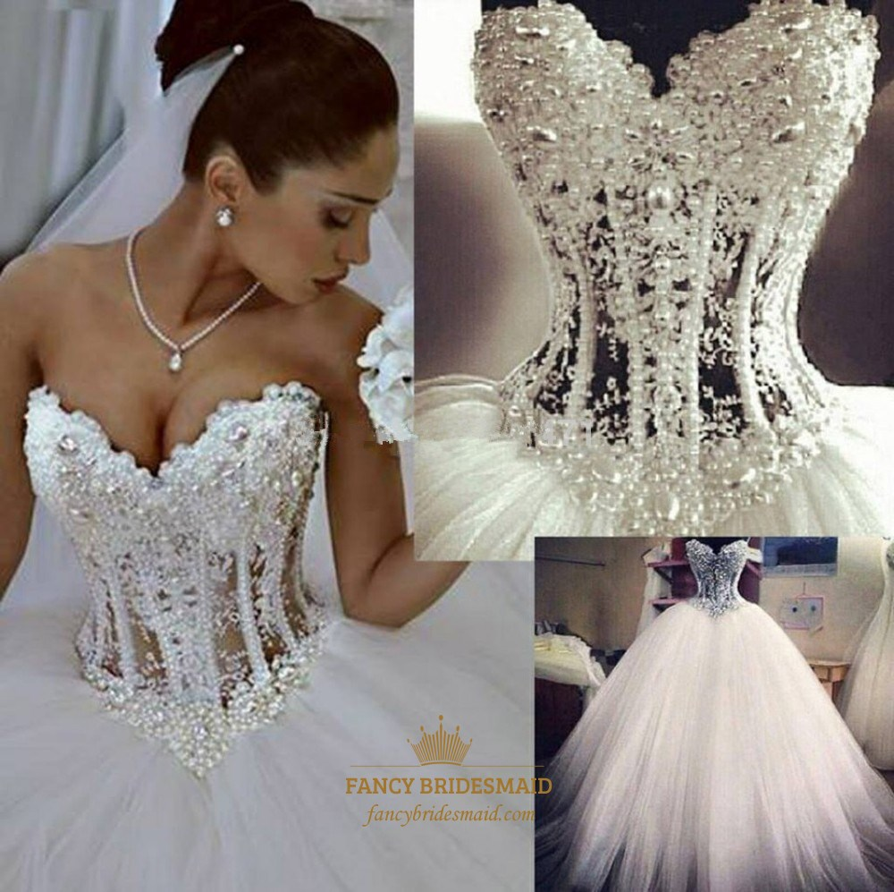 Strapless Illusion Beaded Bodice Corset A-Line Tulle Wedding Dress ...