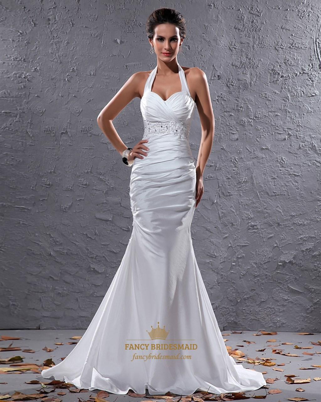 Elegant White Halter Neck Floor Length Lace Embellished Wedding Dress