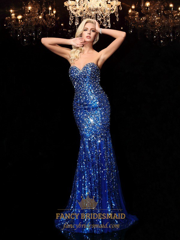 Royal Blue Strapless Low Back Mermaid Prom Gown With Jewel ...