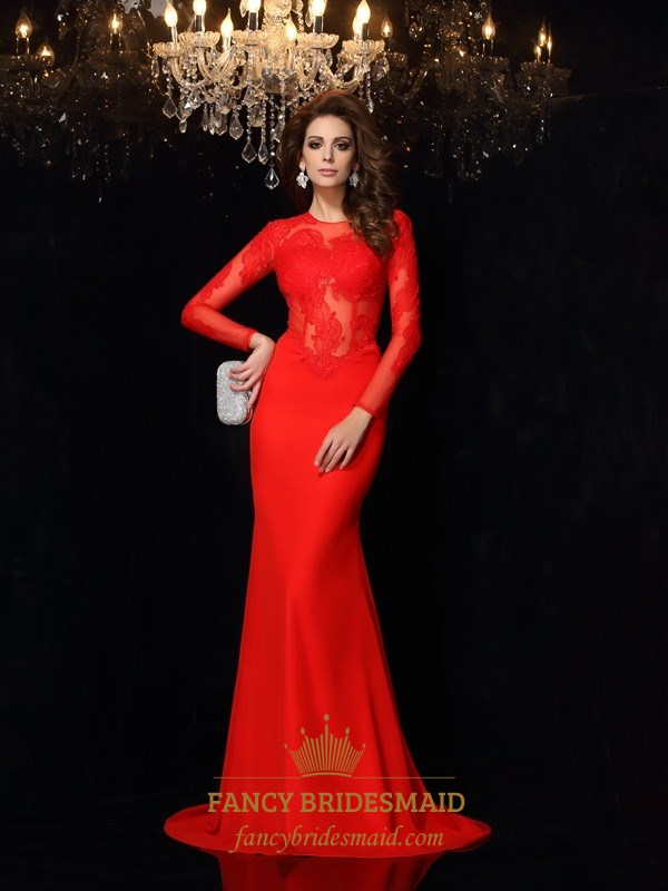 Red Illusion Lace Bodice Long Sleeve Mermaid Floor Length Prom Dress ...