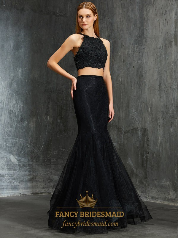 35ce17c7ded8f Black Two Piece Mermaid Sleeveless Long Prom Dress With Lace Bodice SKU  -FS2646