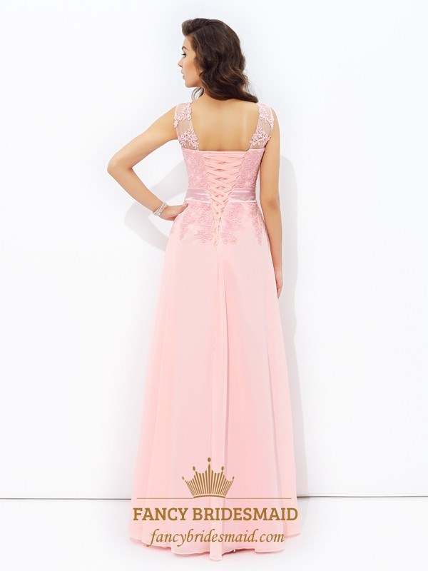 5bd59261dbb91 Blush Pink Illusion Neckline A-Line Floor Length Chiffon Prom Dress ...