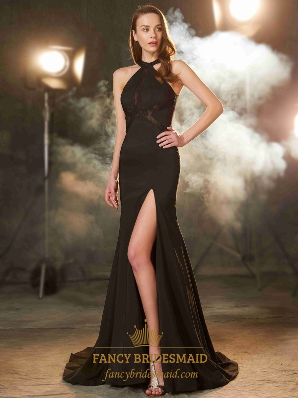 Elegant Black Lace Embellished Sleeveless Prom Gown With Side Split