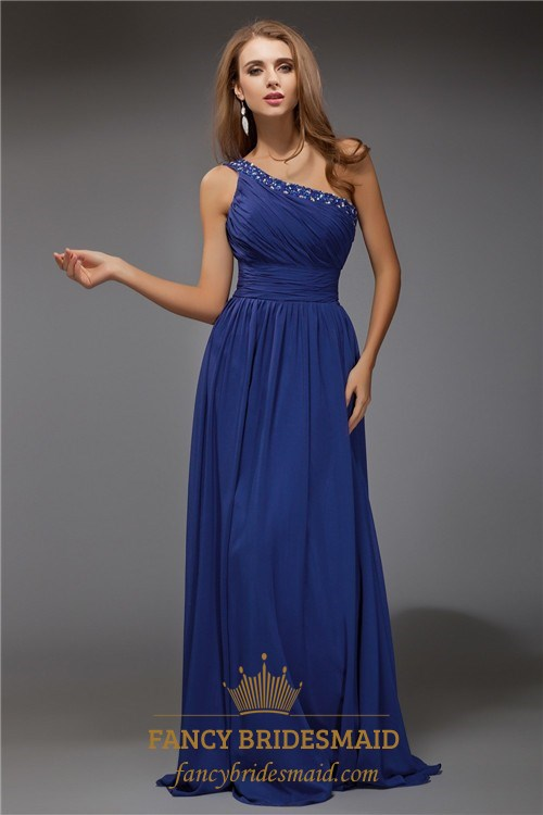 Royal Blue One Shoulder Ruched Empire Waist Chiffon Long Prom Dress ...