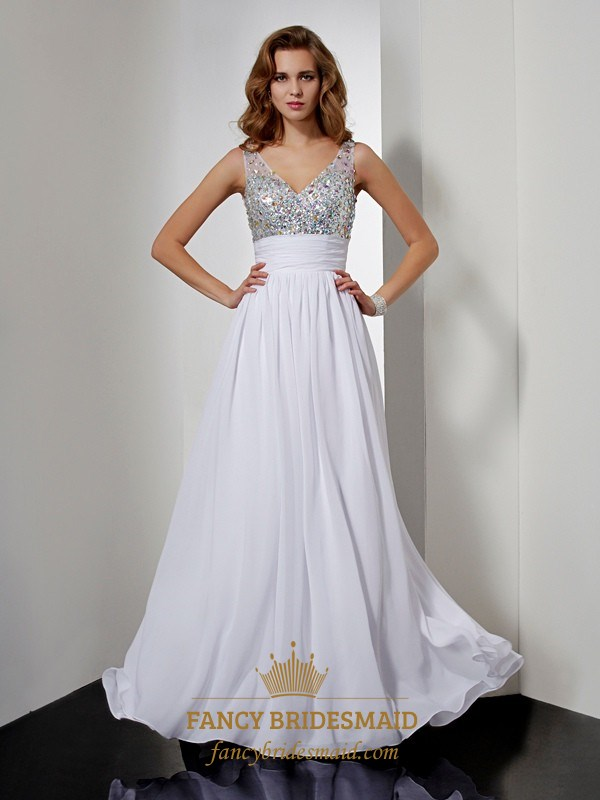d94e641a611 White Sleeveless V Neck Beaded Chiffon A-Line Prom Gown With Open Back SKU  -FS2685