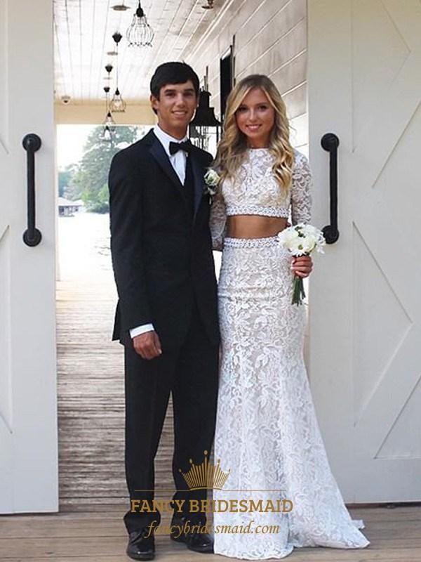 45252bd4e5fd Elegant Two Piece Long Sleeve Floor Length Mermaid Lace Wedding Dress SKU  -FS2692