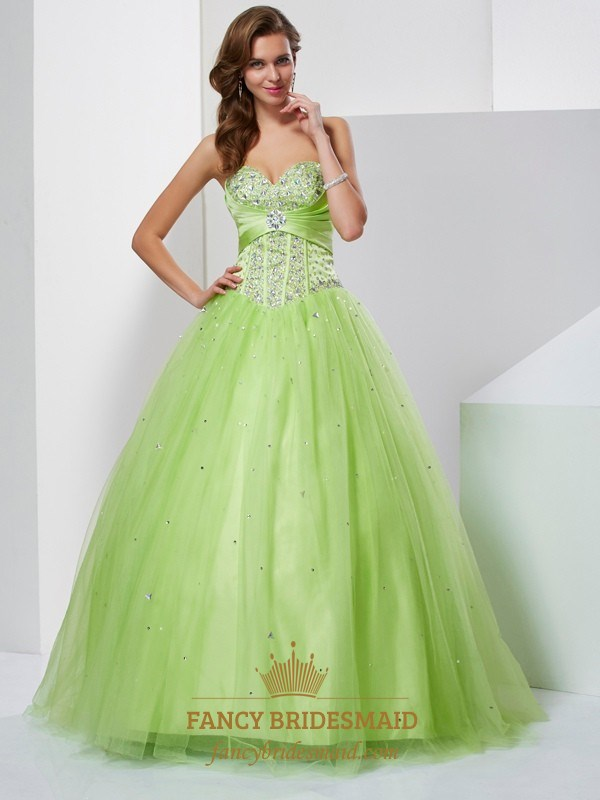 bd3261a613d Light Green Strapless Sweetheart Beaded Corset Bodice Tulle Ball Gown SKU  -FS2694