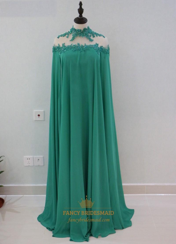 Emerald Green High Neck Floor Length Chiffon Evening Dress
