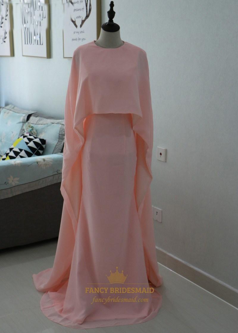 elegant simple blush pink floorlength chiffon prom dress