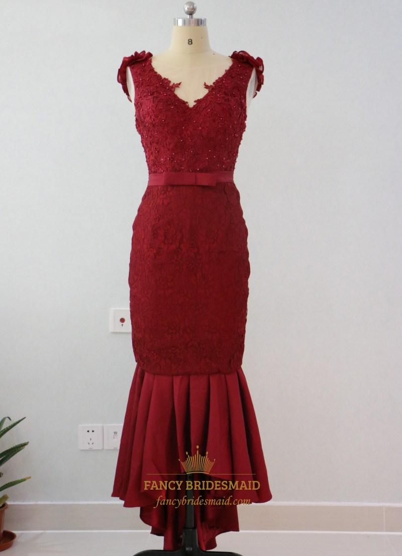 Burgundy Ankle Length Dropped Waist Formal Dress With Flower Strap ...