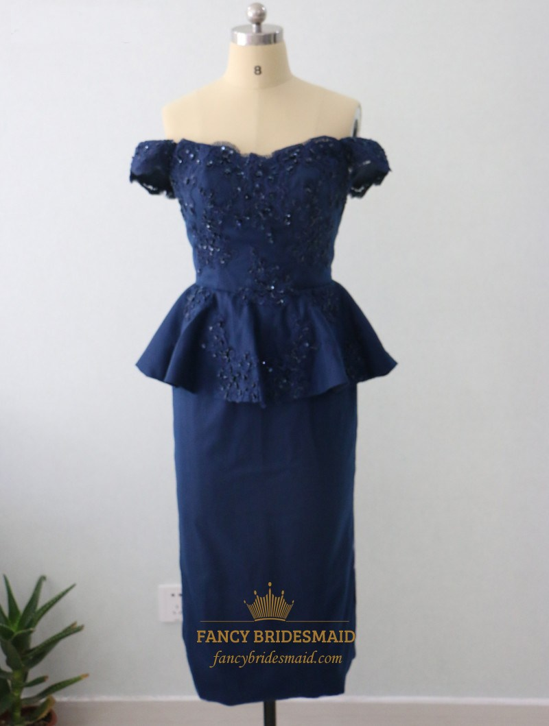 117a9112f817 Royal Blue Off The Shoulder Peplum Tea Length Sheath Lace Beaded Dress SKU  -FS2714