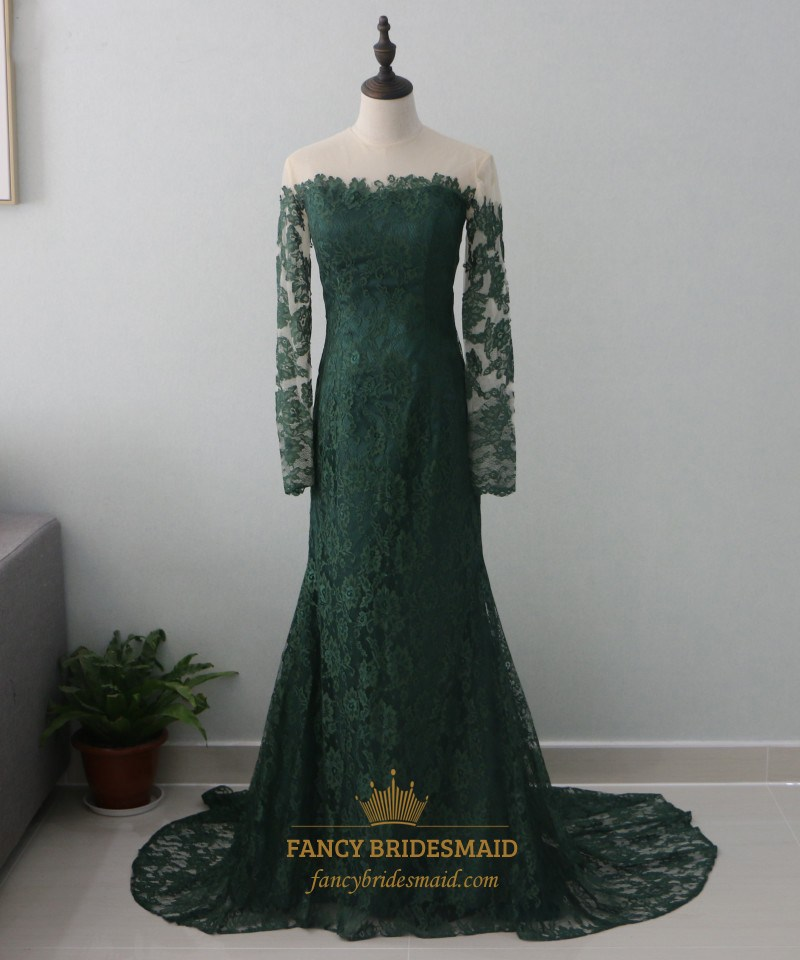 f24438a637 Hunter Green Long Sleeve Mermaid Lace Prom Dress With Sheer Neckline ...