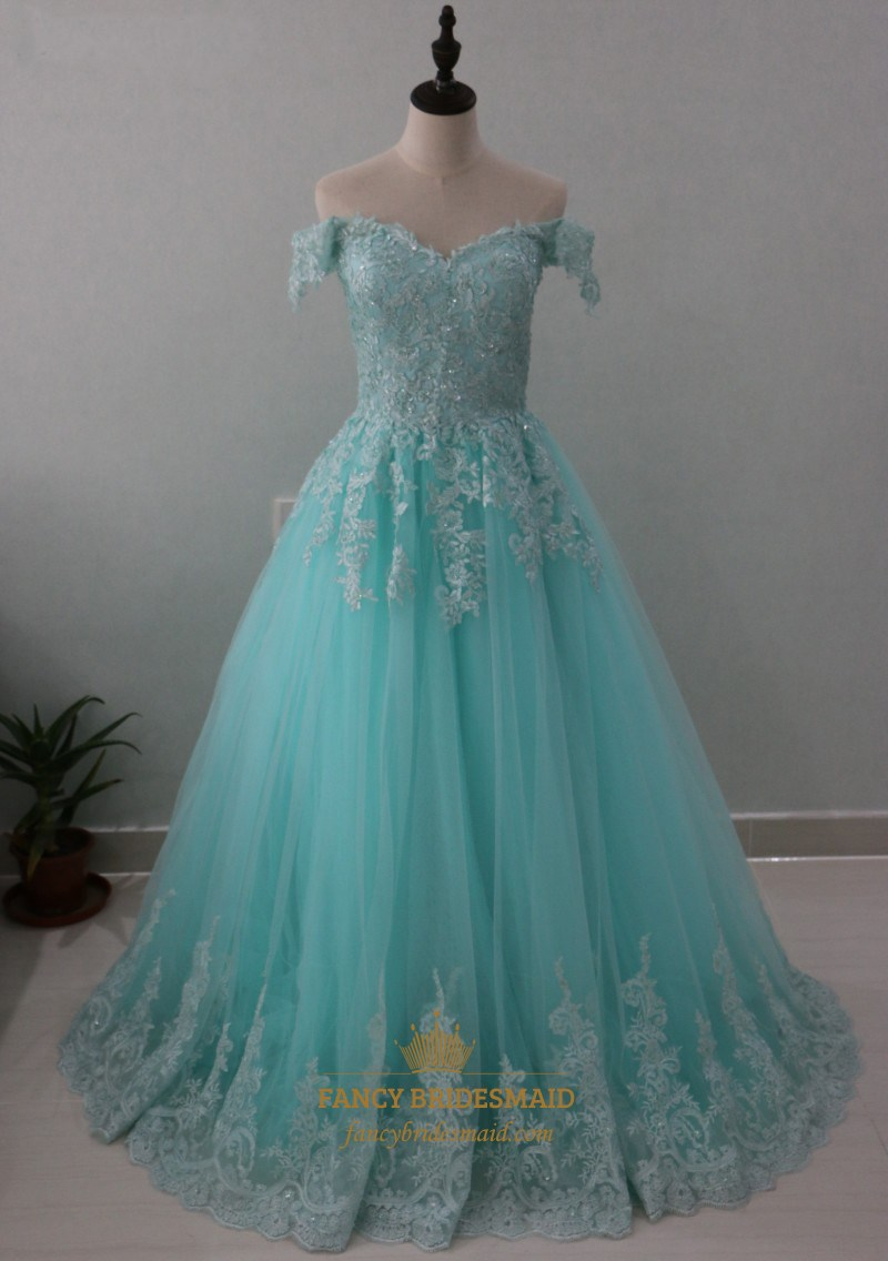 Light Blue Off The Shoulder Lace Embellished Tulle A-Line Ball Gown ...