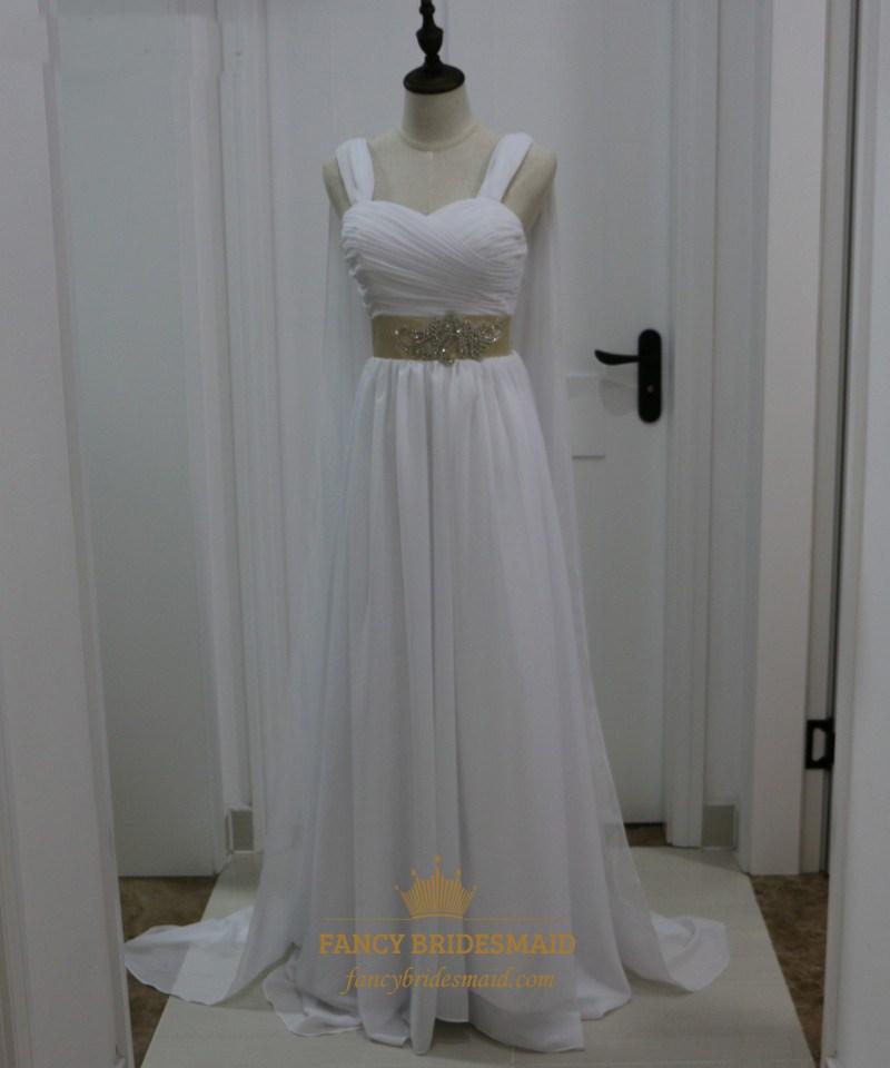 White Chiffon Sleeveless Floor Length Wedding Dress With Cape Train