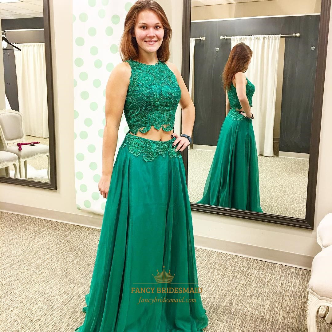 Emerald Green Two Piece Prom Dress Fancy Bridesmaid Dresses