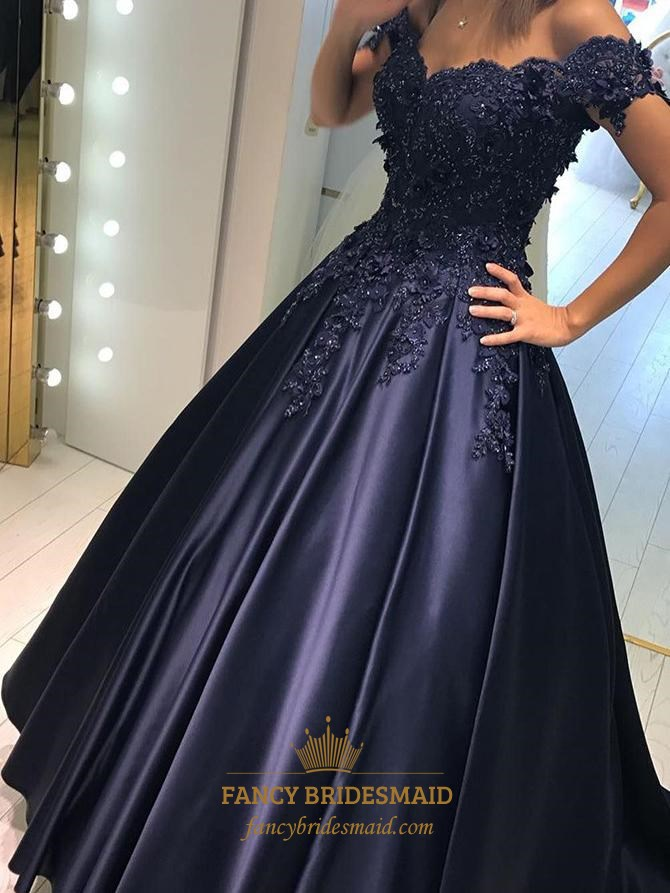 87395f9028ce Navy Blue Off The Shoulder Applique Beaded A-Line Ball Gown Prom Dress SKU  -FS2746